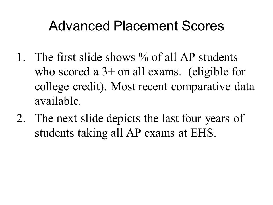 Advanced Placement Scores 1.The first slide shows % of all AP students who scored a 3+ on all exams.