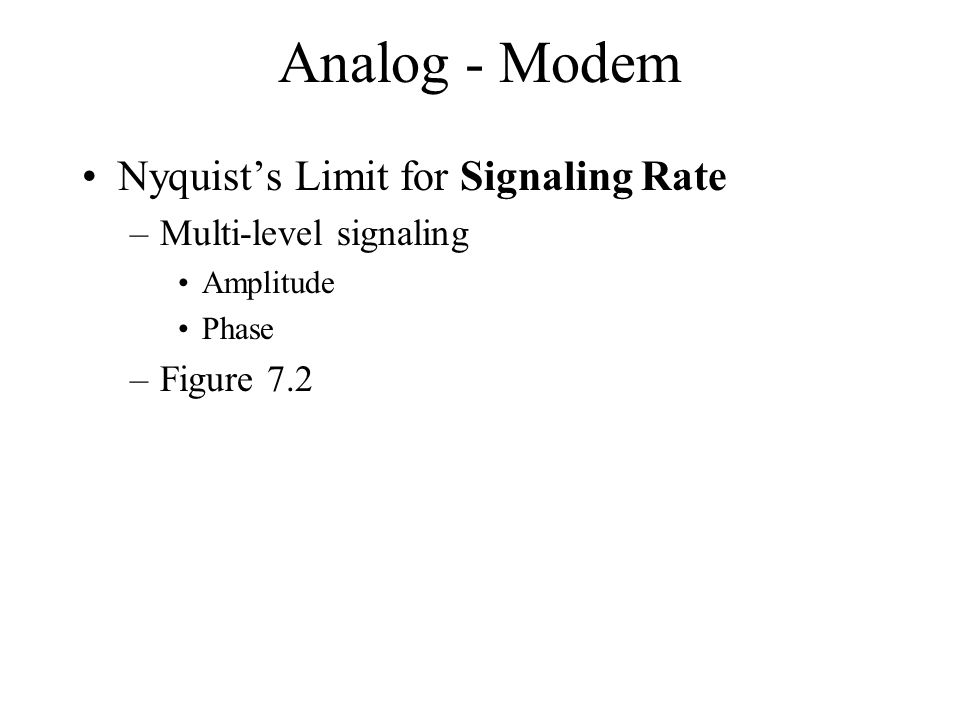 Analog - Modem Nyquists Limit for Signaling Rate –Multi-level signaling Amplitude Phase –Figure 7.2