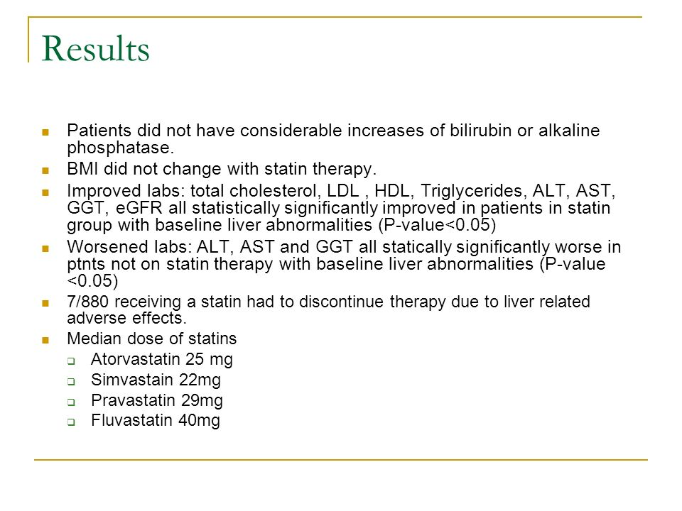 Results Patients did not have considerable increases of bilirubin or alkaline phosphatase.
