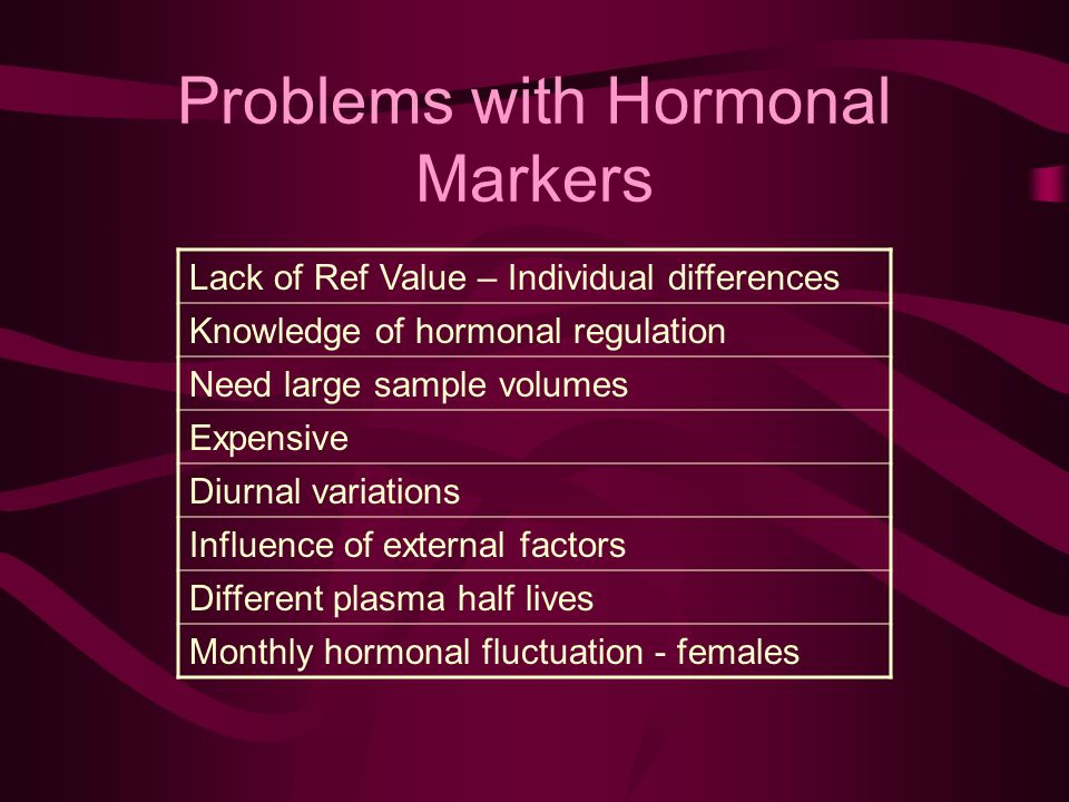 Lack of Ref Value – Individual differences Knowledge of hormonal regulation Need large sample volumes Expensive Diurnal variations Influence of external factors Different plasma half lives Monthly hormonal fluctuation - females Problems with Hormonal Markers