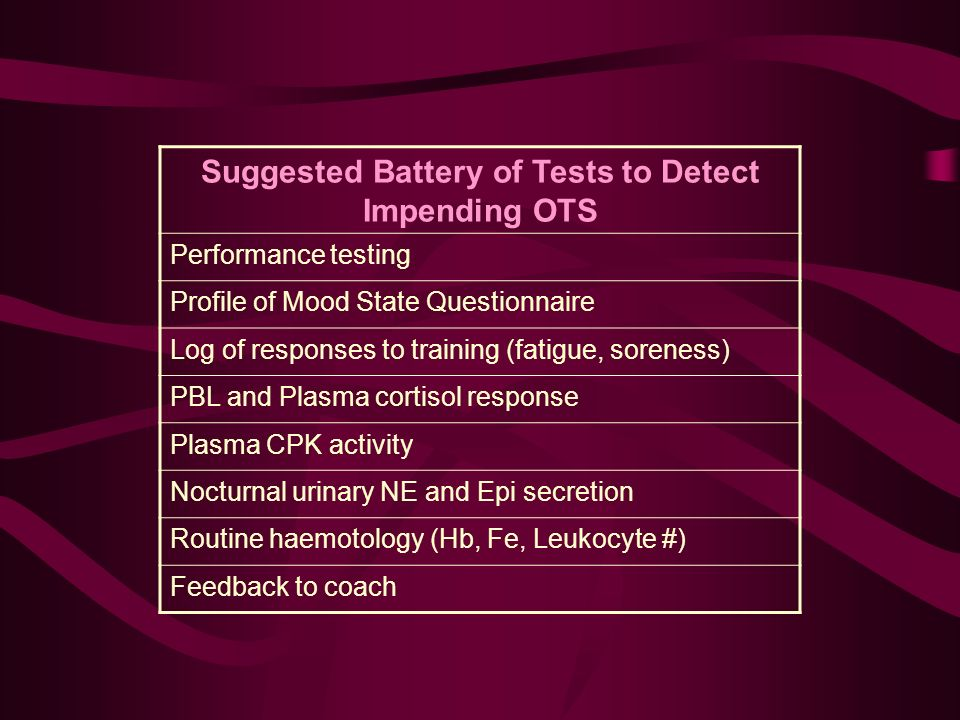 Suggested Battery of Tests to Detect Impending OTS Performance testing Profile of Mood State Questionnaire Log of responses to training (fatigue, soreness) PBL and Plasma cortisol response Plasma CPK activity Nocturnal urinary NE and Epi secretion Routine haemotology (Hb, Fe, Leukocyte #) Feedback to coach