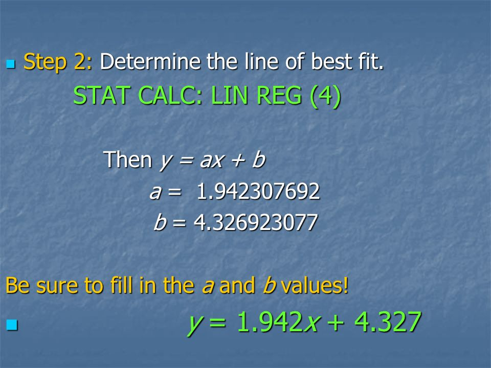 How do you determine a line of best fit. Use your calculator.
