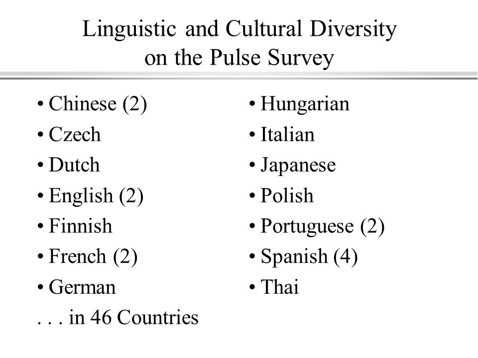 Linguistic and Cultural Diversity on the Pulse Survey Chinese (2) Czech Dutch English (2) Finnish French (2) German...