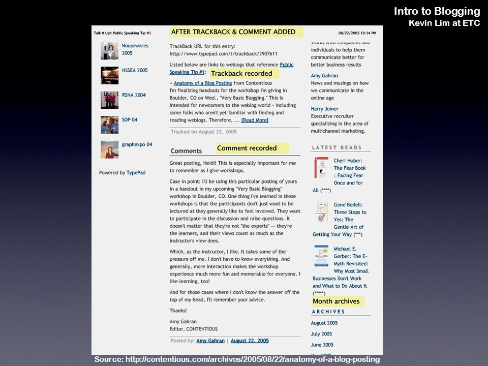 Intro to Blogging Kevin Lim at ETC Source: http://contentious.com/archives/2005/08/22/anatomy-of-a-blog-posting