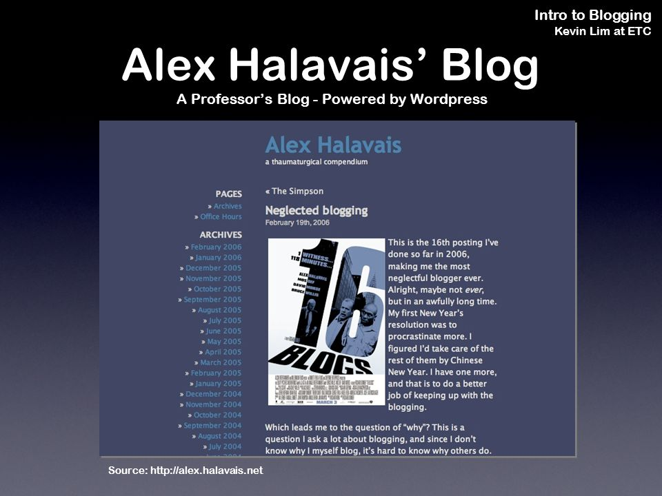 Intro to Blogging Kevin Lim at ETC Alex Halavais Blog A Professors Blog - Powered by Wordpress Source: http://alex.halavais.net