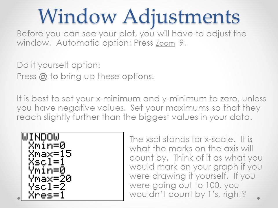 Window Adjustments Before you can see your plot, you will have to adjust the window.