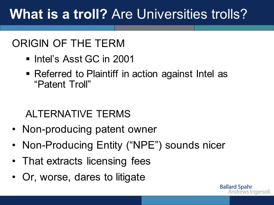 What is a troll. Are Universities trolls.