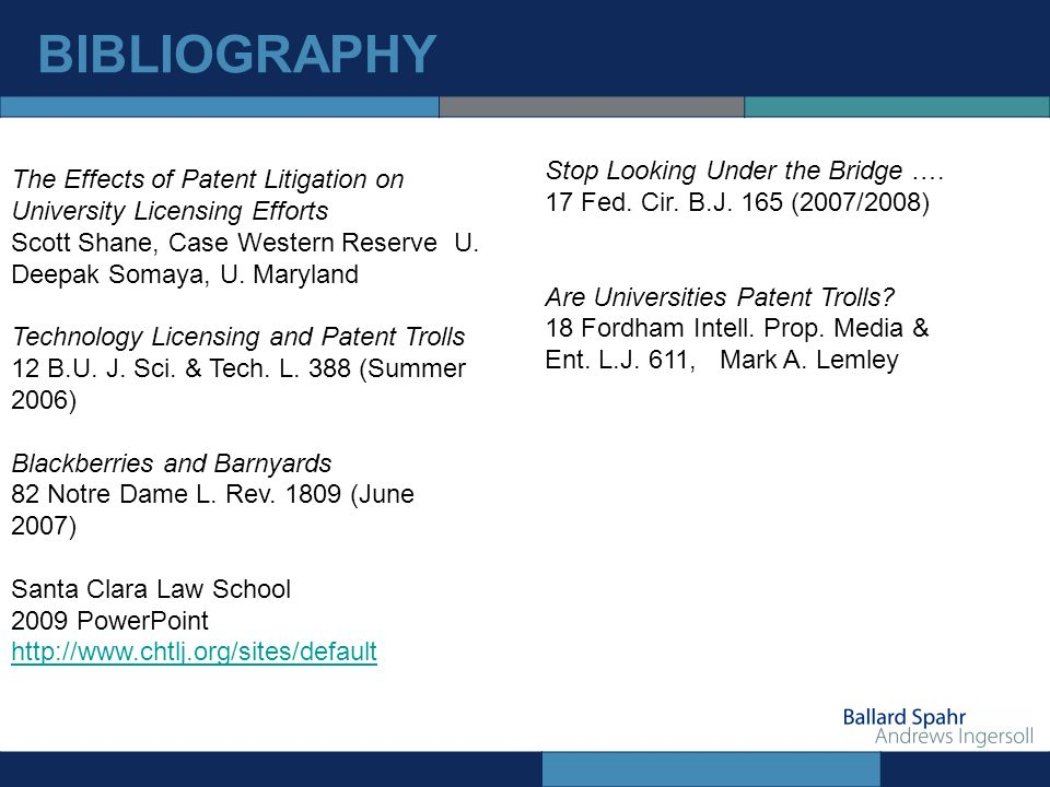 BIBLIOGRAPHY The Effects of Patent Litigation on University Licensing Efforts Scott Shane, Case Western Reserve U.