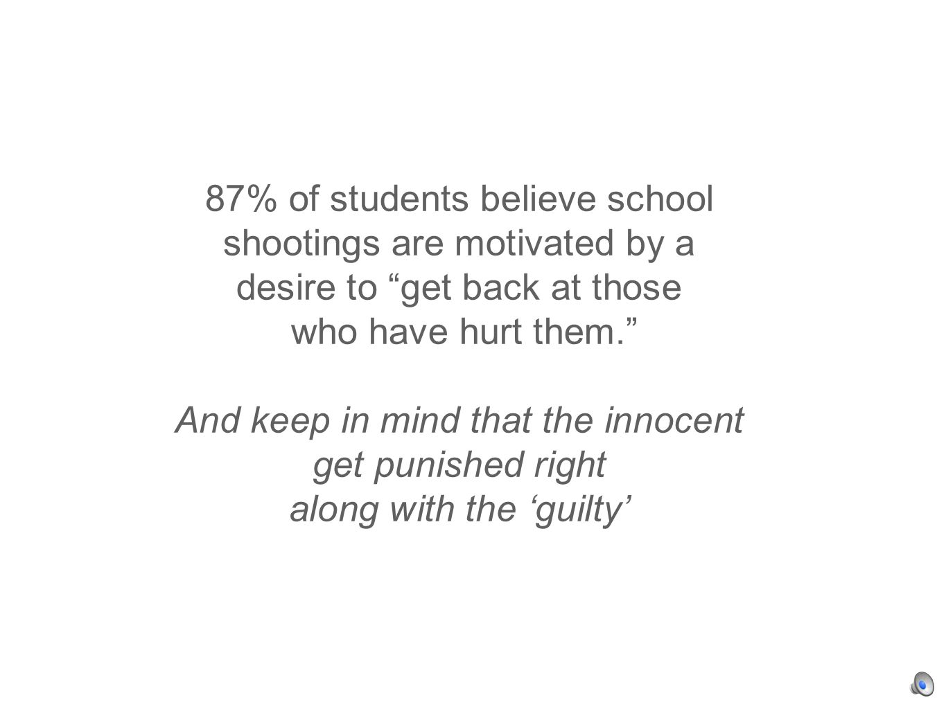 87% of students believe school shootings are motivated by a desire to get back at those who have hurt them.