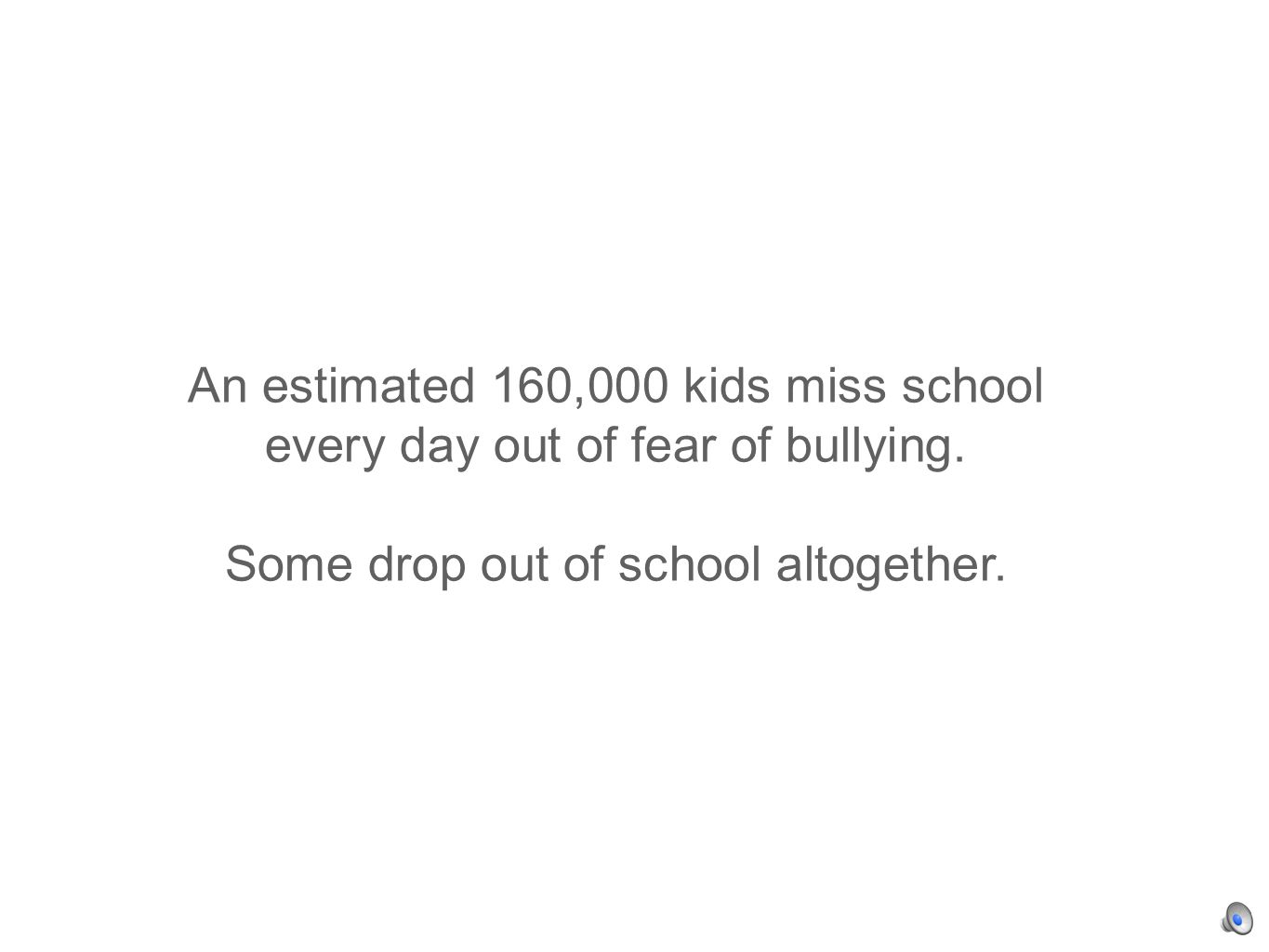 An estimated 160,000 kids miss school every day out of fear of bullying.