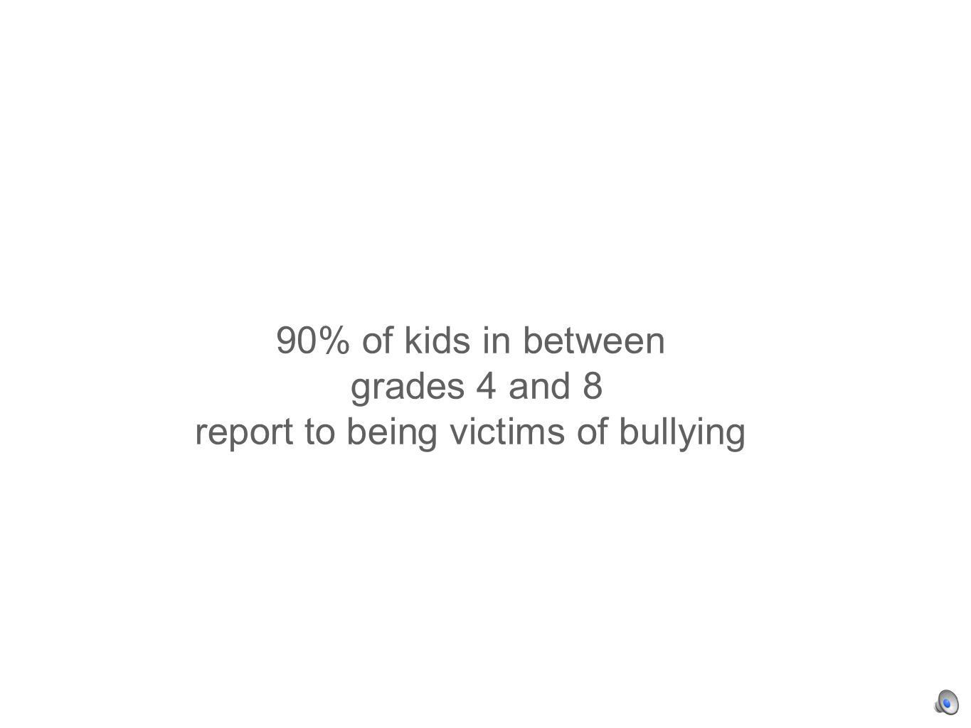 90% of kids in between grades 4 and 8 report to being victims of bullying