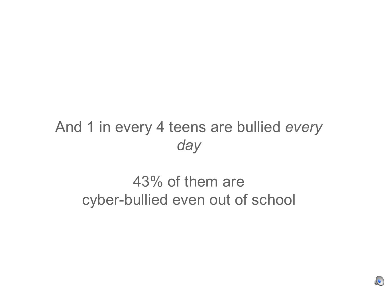 And 1 in every 4 teens are bullied every day 43% of them are cyber-bullied even out of school