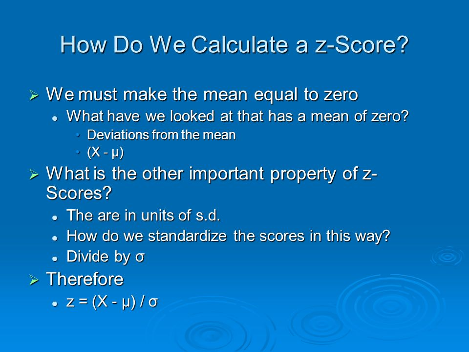 How Do We Calculate a z-Score.