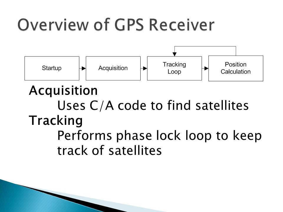 Acquisition Uses C/A code to find satellites Tracking Performs phase lock loop to keep track of satellites