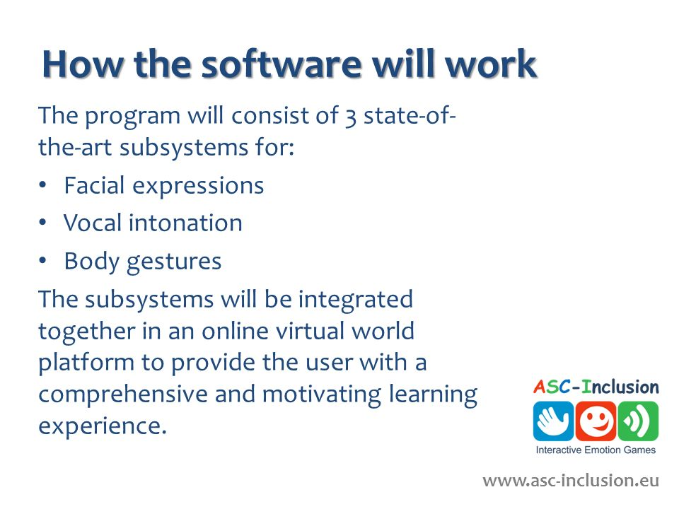 How the software will work The program will consist of 3 state-of- the-art subsystems for: Facial expressions Vocal intonation Body gestures The subsystems will be integrated together in an online virtual world platform to provide the user with a comprehensive and motivating learning experience.