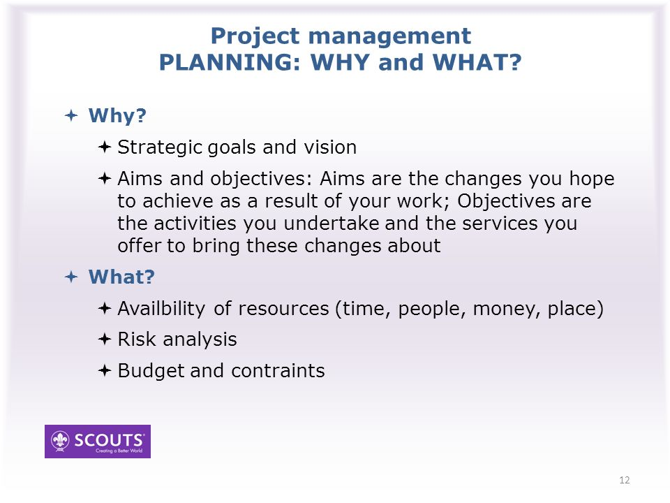 Project management PLANNING: WHY and WHAT. Why.