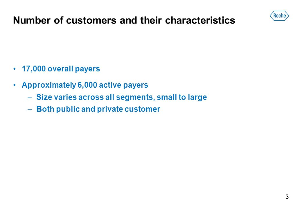 Number of customers and their characteristics 17,000 overall payers Approximately 6,000 active payers –Size varies across all segments, small to large –Both public and private customer 3