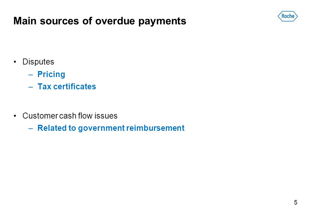 Main sources of overdue payments Disputes –Pricing –Tax certificates Customer cash flow issues –Related to government reimbursement 5