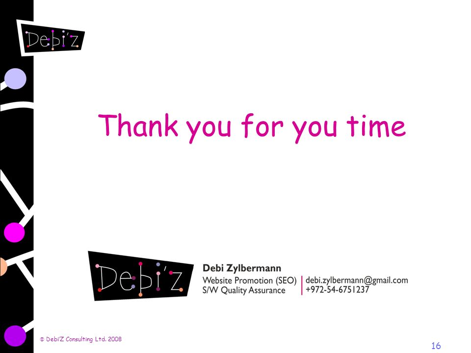 DebiZ Consulting Ltd. 2008 16 Thank you for you time