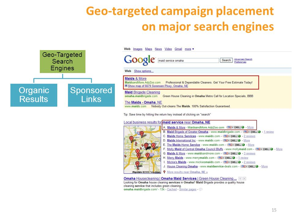 15 Geo-Targeted Search Engines Sponsored Links Organic Results Geo-targeted campaign placement on major search engines