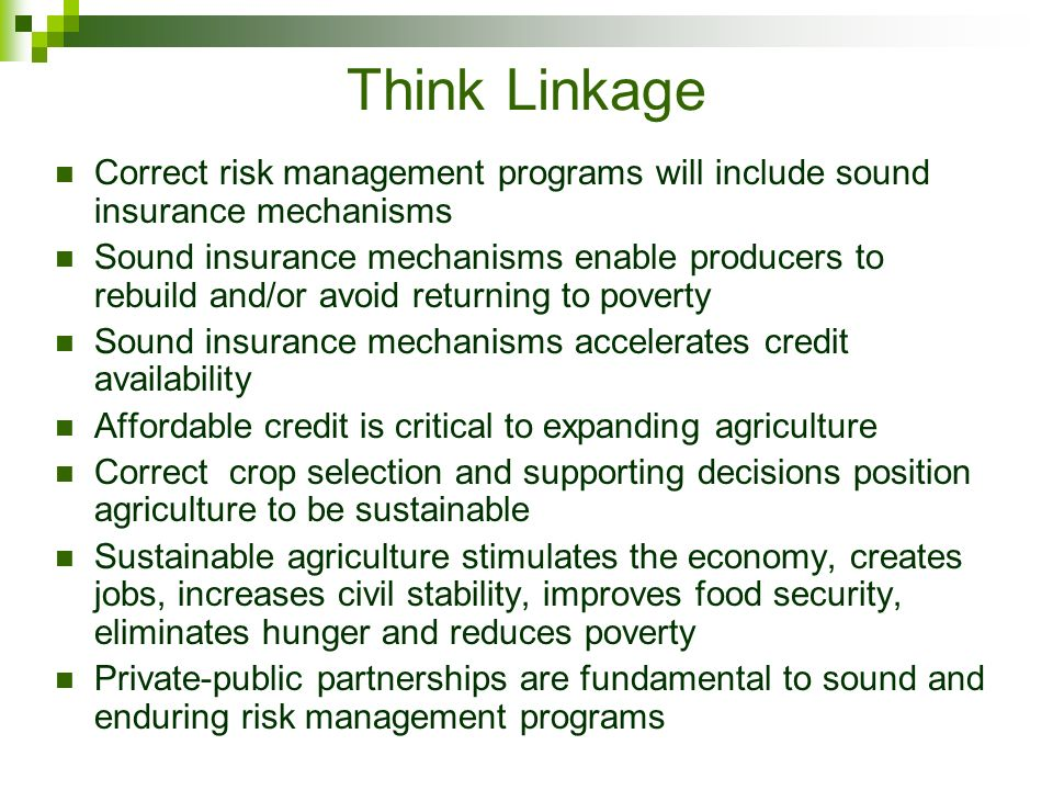Think Linkage Correct risk management programs will include sound insurance mechanisms Sound insurance mechanisms enable producers to rebuild and/or avoid returning to poverty Sound insurance mechanisms accelerates credit availability Affordable credit is critical to expanding agriculture Correct crop selection and supporting decisions position agriculture to be sustainable Sustainable agriculture stimulates the economy, creates jobs, increases civil stability, improves food security, eliminates hunger and reduces poverty Private-public partnerships are fundamental to sound and enduring risk management programs