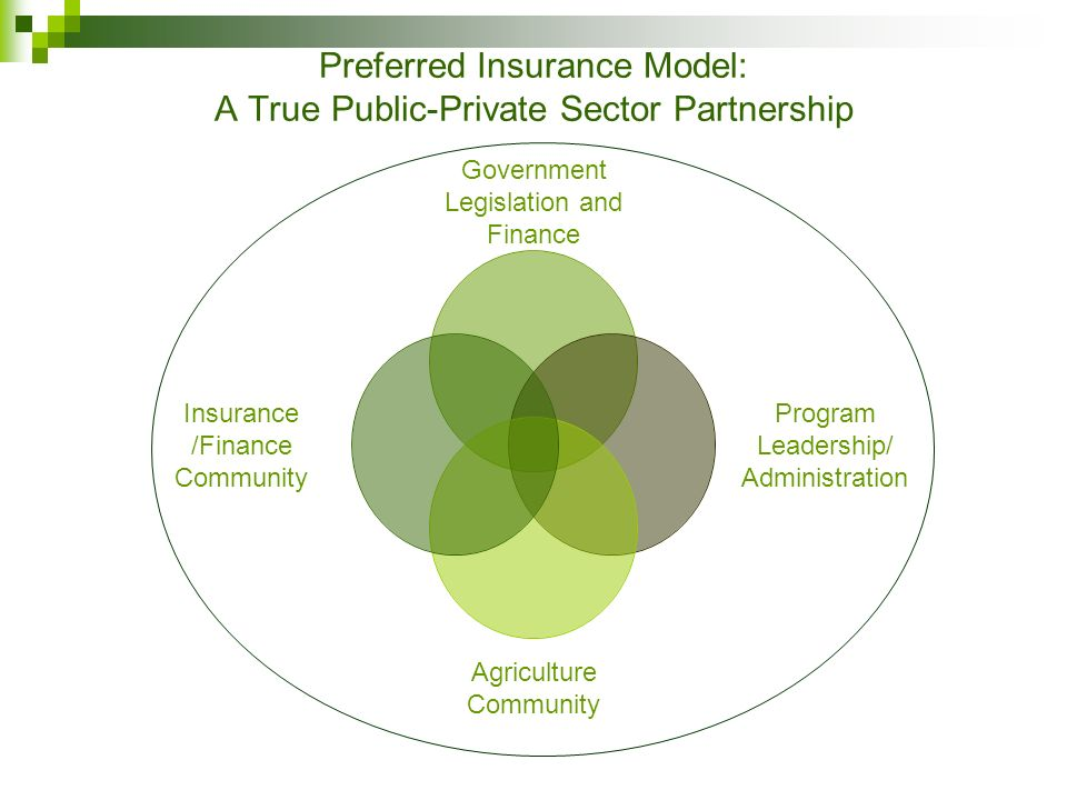Preferred Insurance Model: A True Public-Private Sector Partnership Government Legislation and Finance Program Leadership/ Administration Agriculture Community Insurance /Finance Community