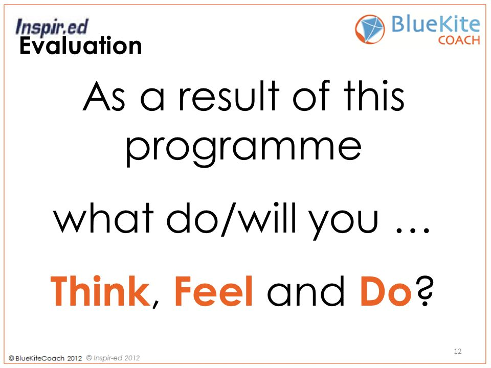 Evaluation As a result of this programme what do/will you … Think, Feel and Do 12