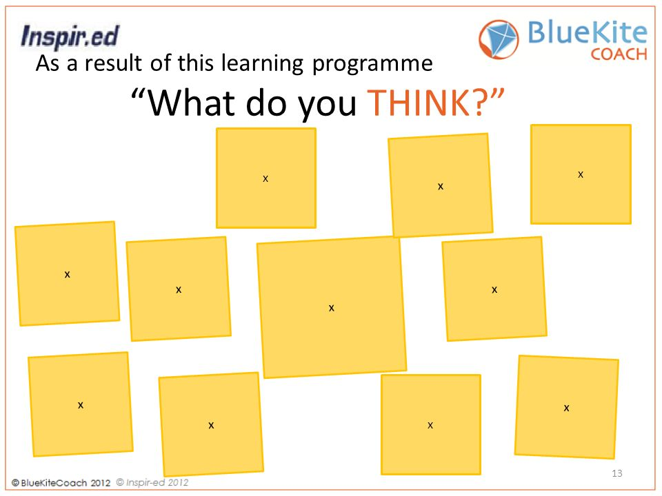 As a result of this learning programme What do you THINK 13 x x x x x x x x x x x