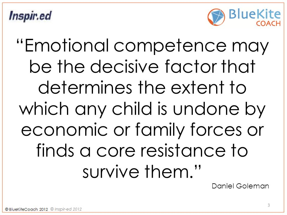 3 Emotional competence may be the decisive factor that determines the extent to which any child is undone by economic or family forces or finds a core resistance to survive them.