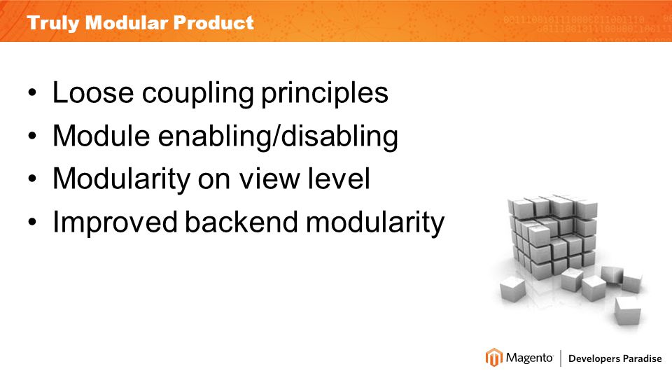 Truly Modular Product Loose coupling principles Module enabling/disabling Modularity on view level Improved backend modularity