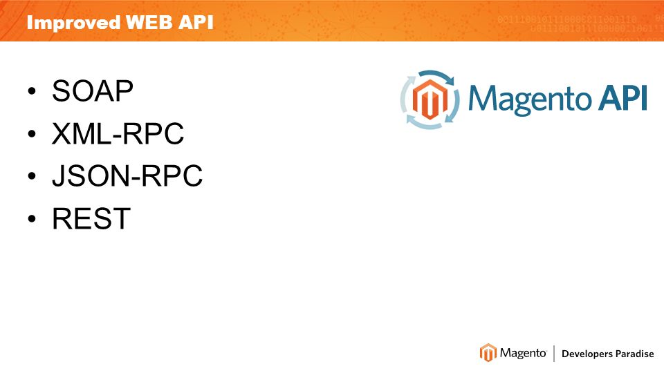 Improved WEB API SOAP XML-RPC JSON-RPC REST