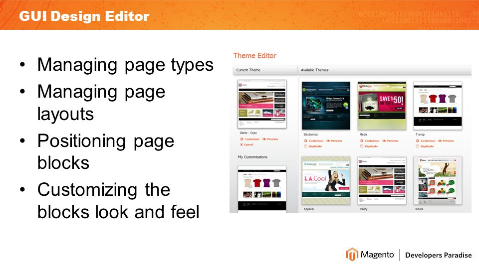 Managing page types Managing page layouts Positioning page blocks Customizing the blocks look and feel GUI Design Editor
