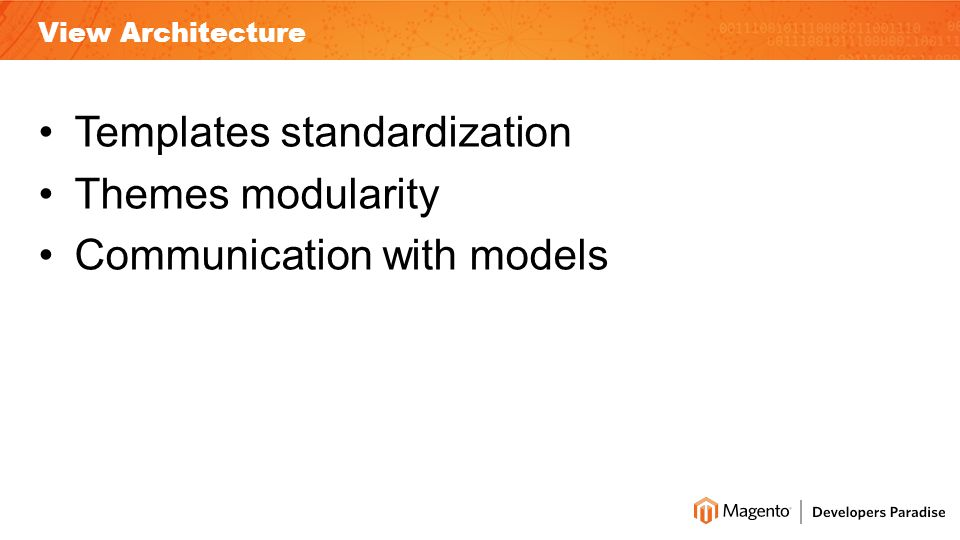 View Architecture Templates standardization Themes modularity Communication with models