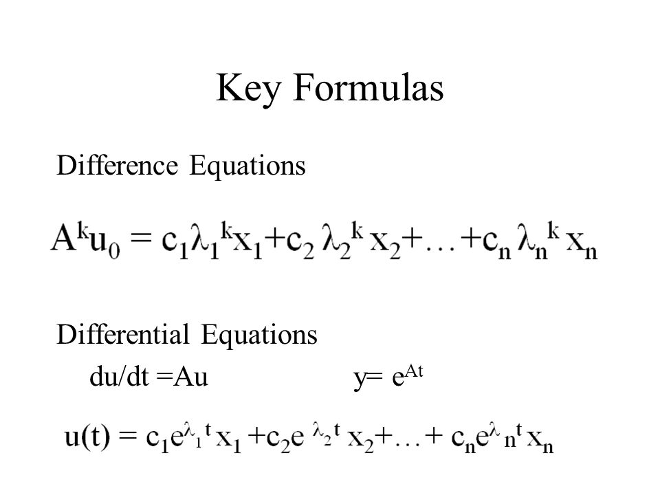 Key Formulas Difference Equations Differential Equations du/dt =Auy= e At