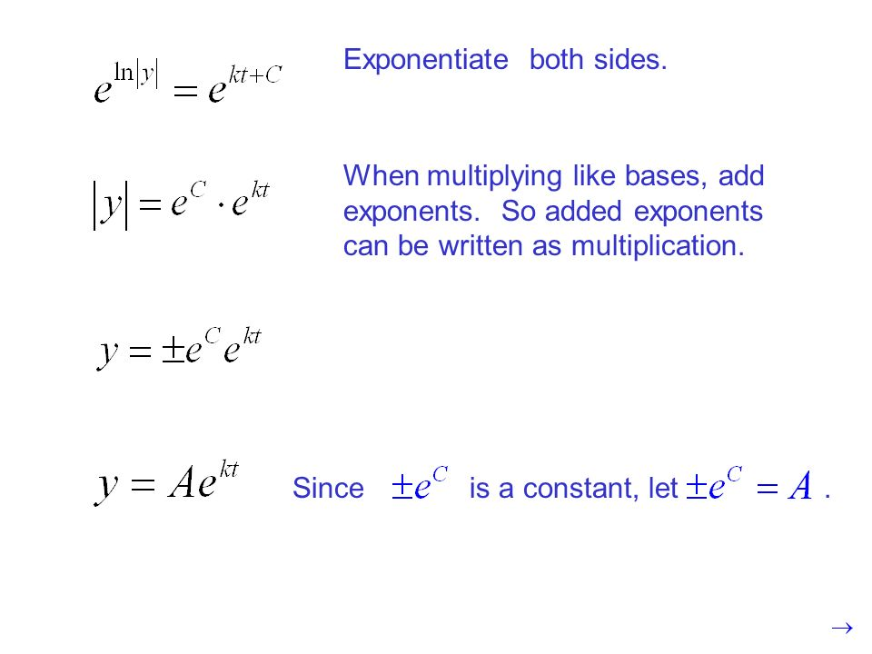 Exponentiate both sides. When multiplying like bases, add exponents.