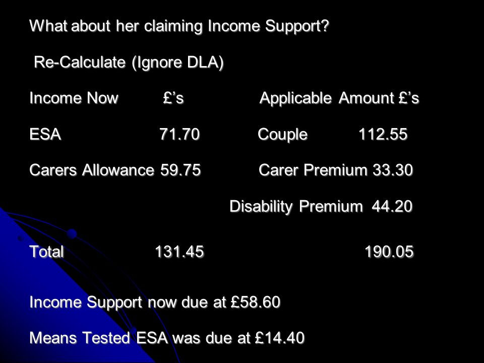 He had in August 2012 the 4 week Working Tax Credit run on at over £100 weekly so at that time he was not due any means tested ESA Any other claims.