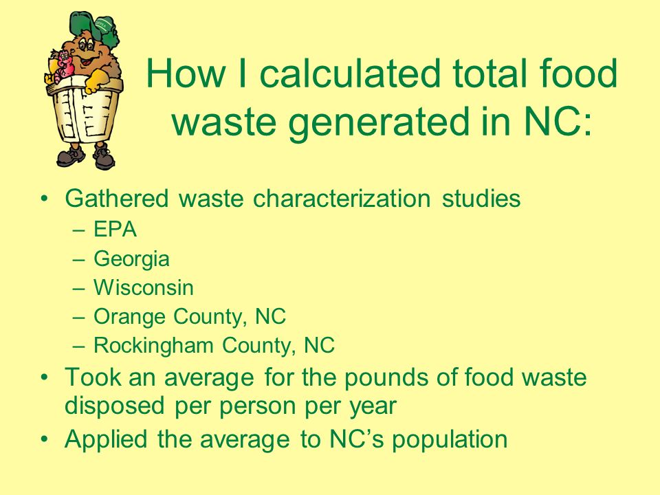 How I calculated total food waste generated in NC: Gathered waste characterization studies –EPA –Georgia –Wisconsin –Orange County, NC –Rockingham County, NC Took an average for the pounds of food waste disposed per person per year Applied the average to NCs population
