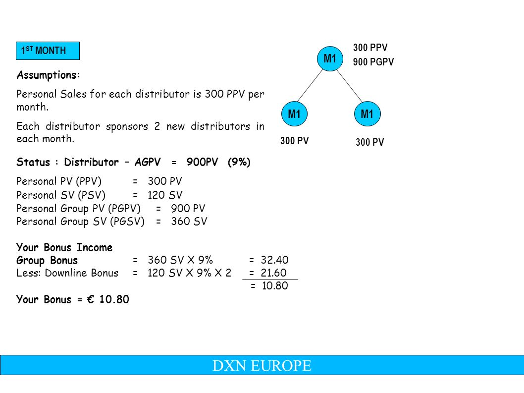 M1 300 PV Assumptions: Personal Sales for each distributor is 300 PPV per month.