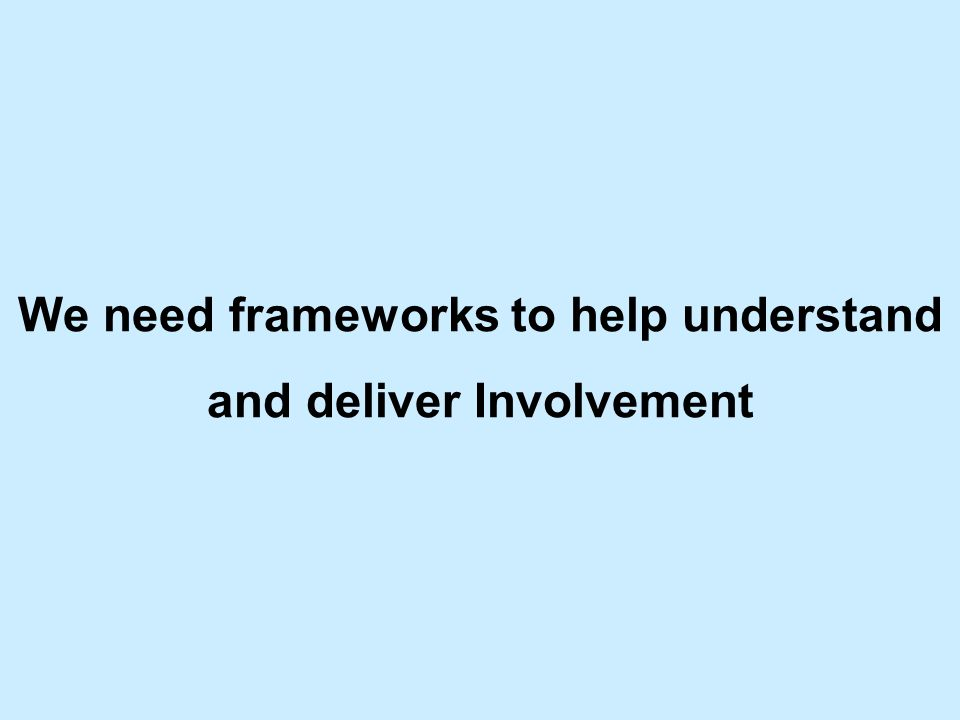 We need frameworks to help understand and deliver Involvement
