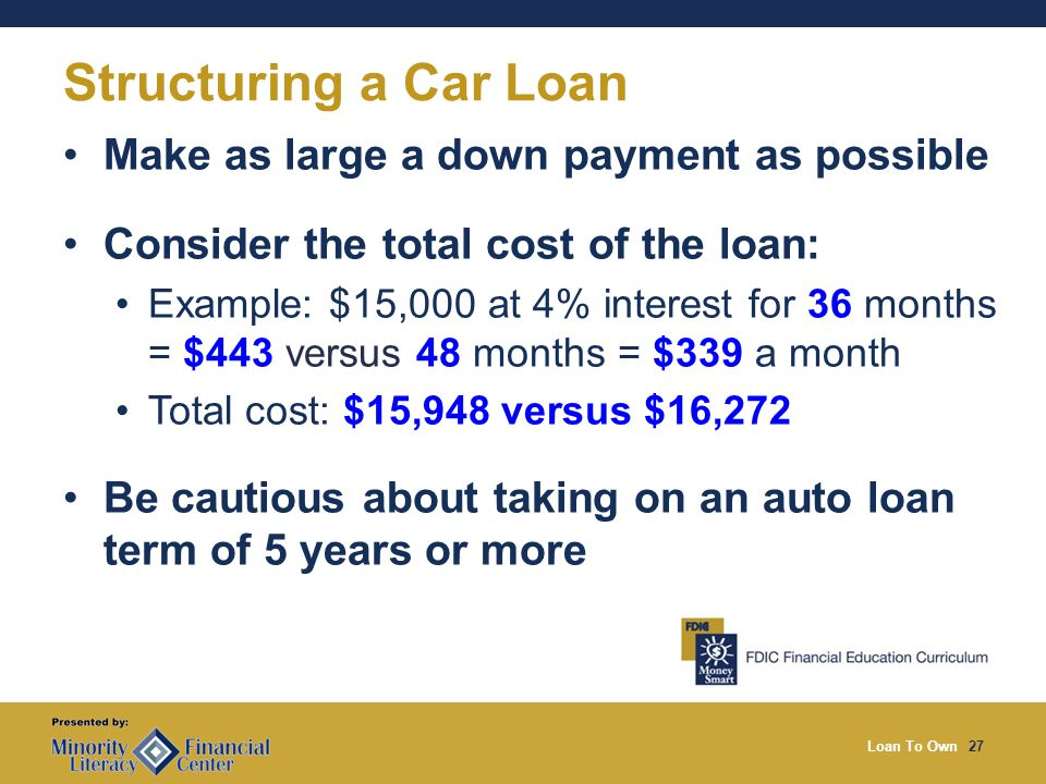 Loan To Own27 Structuring a Car Loan Make as large a down payment as possible Consider the total cost of the loan: Example: $15,000 at 4% interest for 36 months = $443 versus 48 months = $339 a month Total cost: $15,948 versus $16,272 Be cautious about taking on an auto loan term of 5 years or more
