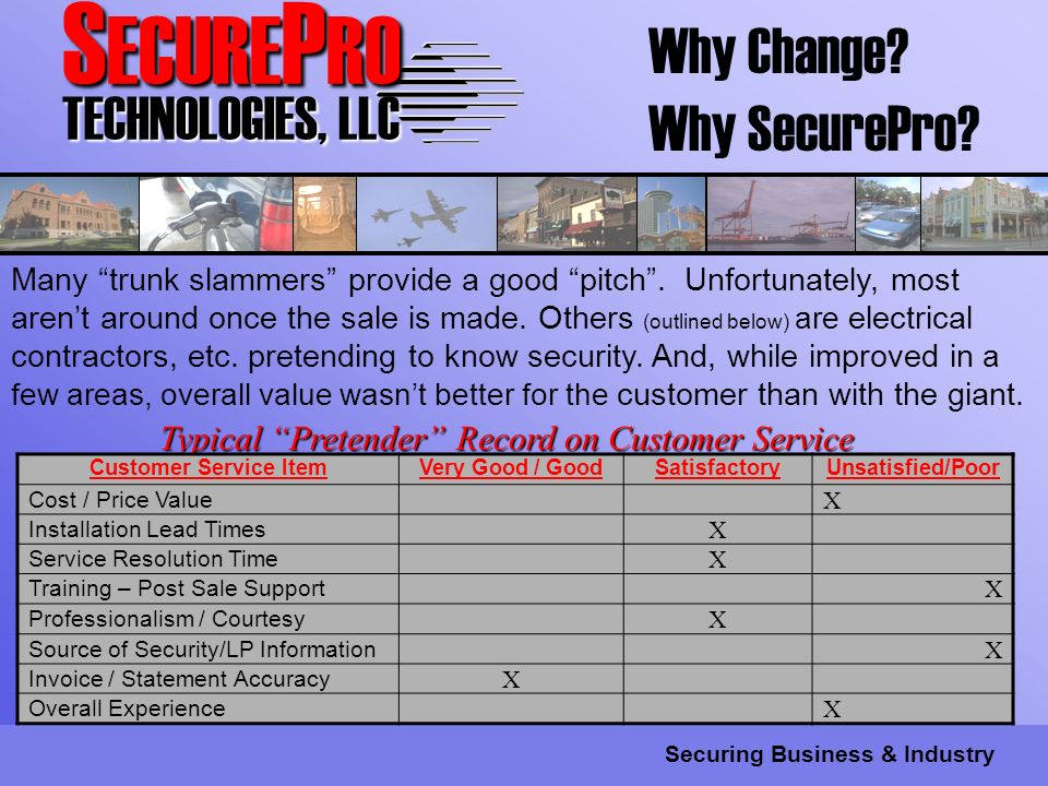 S ECURE P RO TECHNOLOGIES, LLC Securing Business & Industry Why Change.