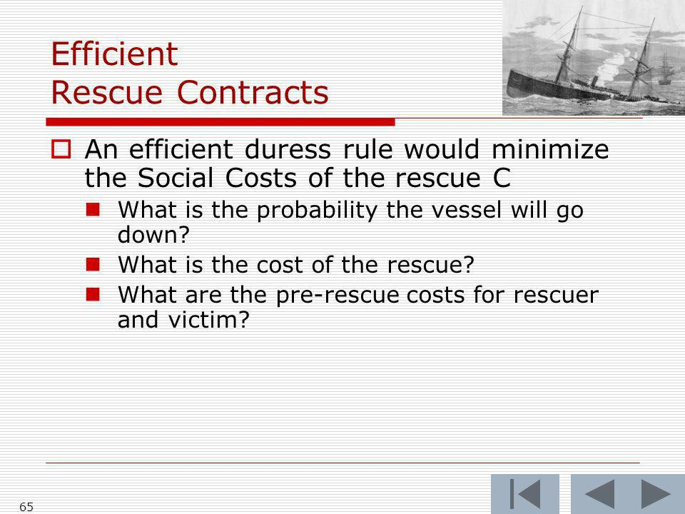Efficient Rescue Contracts An efficient duress rule would minimize the Social Costs of the rescue C What is the probability the vessel will go down.