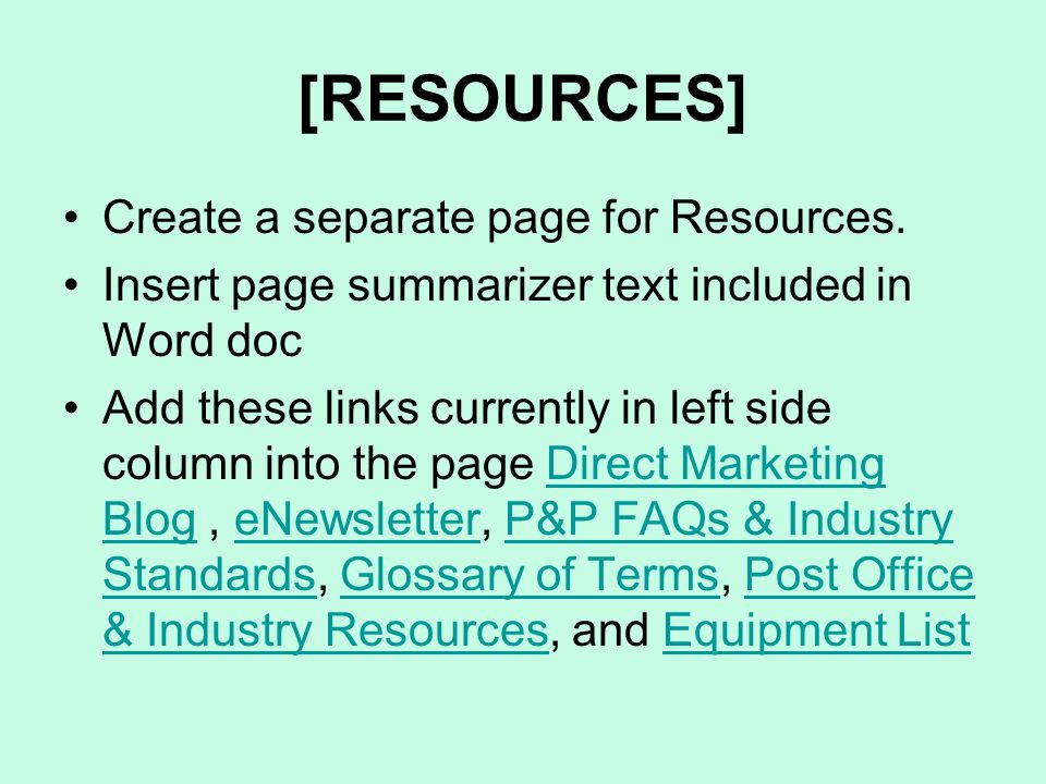 [RESOURCES] Create a separate page for Resources.