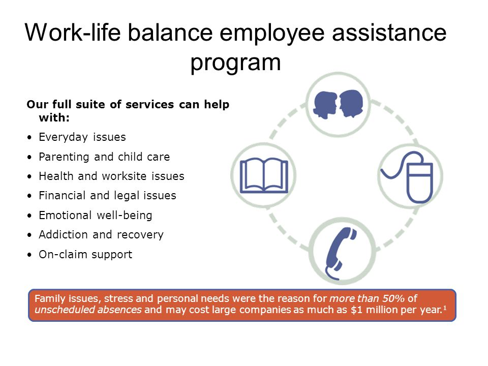 Work-life balance employee assistance program Our full suite of services can help with: Everyday issues Parenting and child care Health and worksite issues Financial and legal issues Emotional well-being Addiction and recovery On-claim support Family issues, stress and personal needs were the reason for more than 50% of unscheduled absences and may cost large companies as much as $1 million per year.