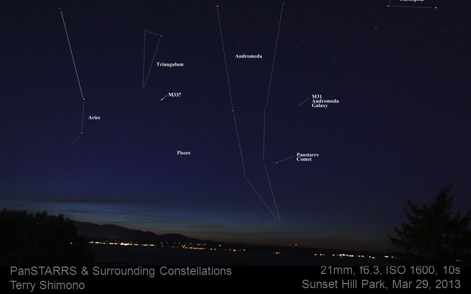 21mm, f6.3, ISO 1600, 10s Sunset Hill Park, Mar 29, 2013 PanSTARRS & Surrounding Constellations Terry Shimono