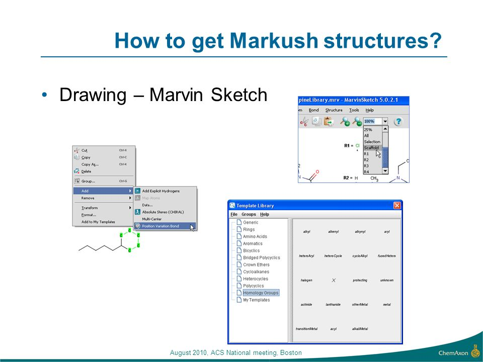 August 2010, ACS National meeting, Boston How to get Markush structures Drawing – Marvin Sketch
