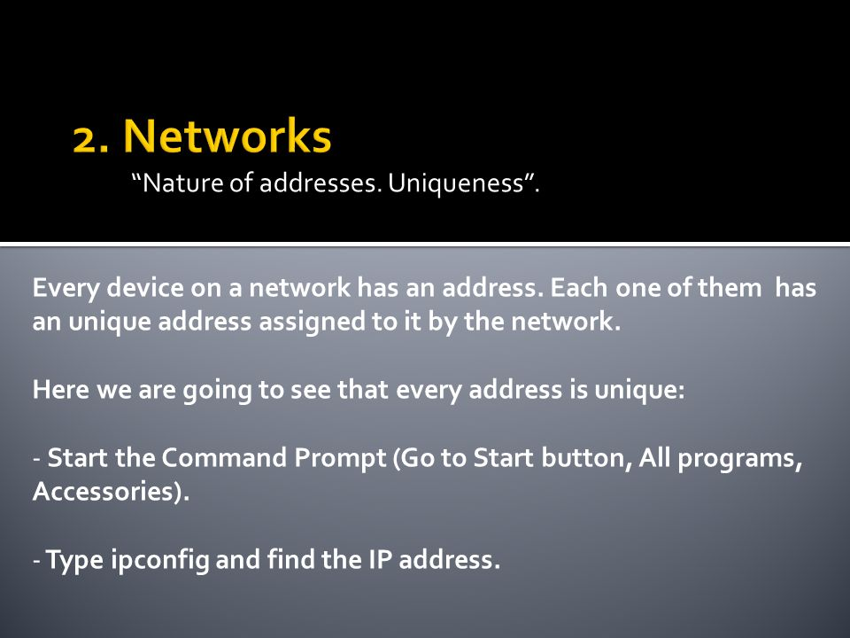 Nature of addresses. Uniqueness. Every device on a network has an address.