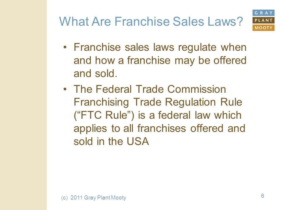 (c) 2011 Gray Plant Mooty 6 What Are Franchise Sales Laws.