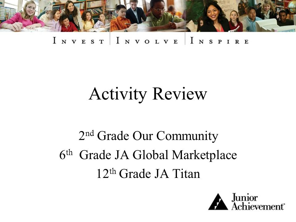 Activity Review 2 nd Grade Our Community 6 th Grade JA Global Marketplace 12 th Grade JA Titan