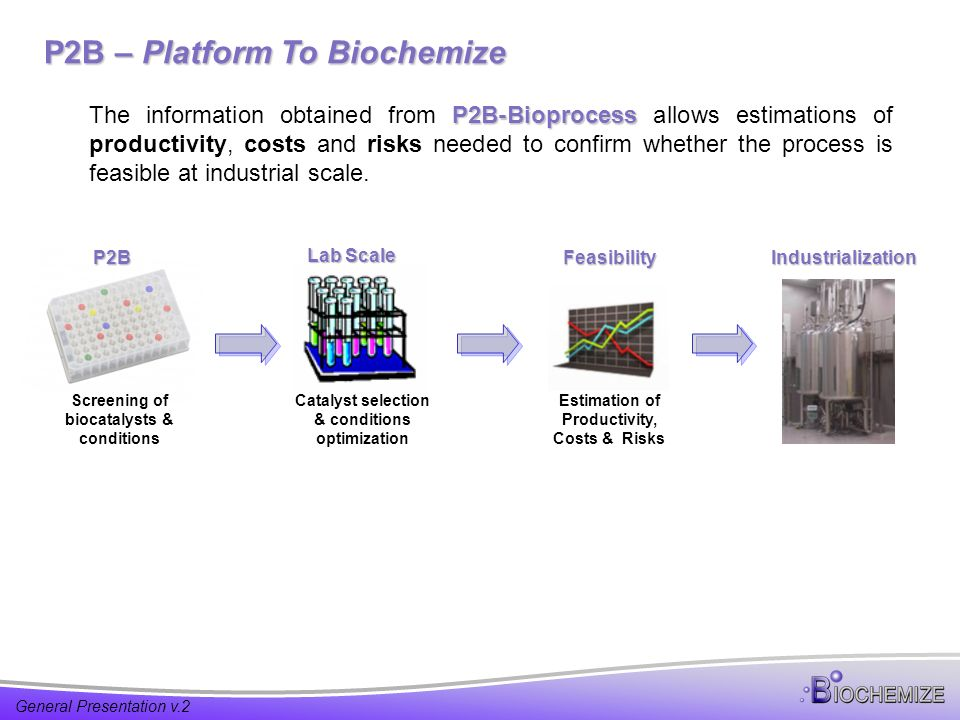General Presentation v.2 P2B – Platform To Biochemize P2B-Bioprocess The information obtained from P2B-Bioprocess allows estimations of productivity, costs and risks needed to confirm whether the process is feasible at industrial scale.